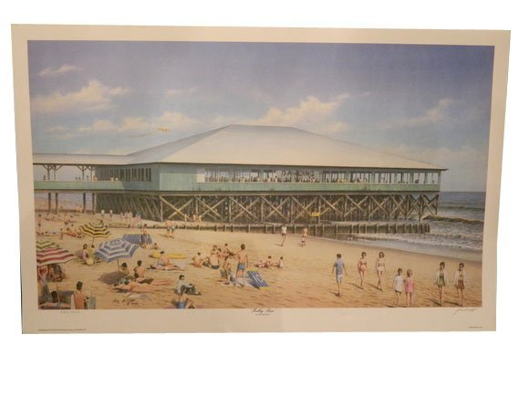 """130: Unframed Lithograph by Jim Booth """"Folly Pier"""" 1991"""