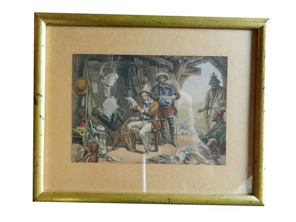 """131: 19th C. Color Lithograph """"Planning the Hunt"""""""