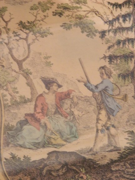 132: 19th Century Framed French Hand-Colored Lithograph
