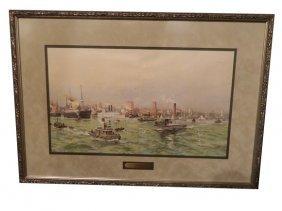Lithograph, New York Harbor, Circa 1900