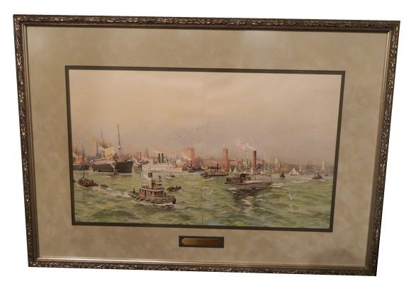 134: Lithograph, New York Harbor, circa 1900