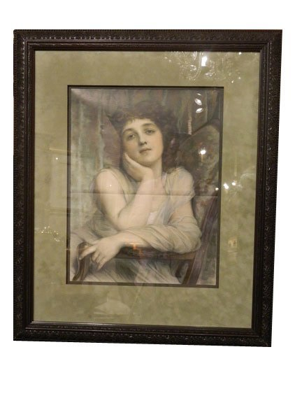 135: Antique Lithograph of Winsome Lady, circa 1900