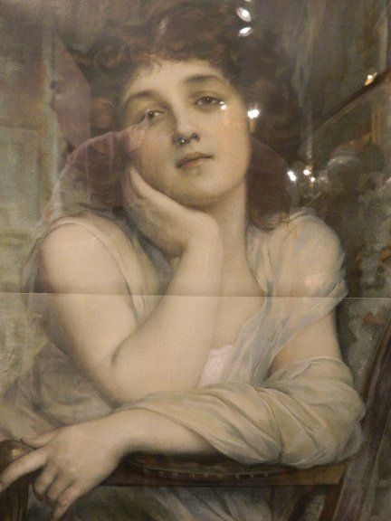 135: Antique Lithograph of Winsome Lady, circa 1900 - 2