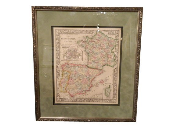 138: Antique Map of France, Spain and Portugal.  Publis