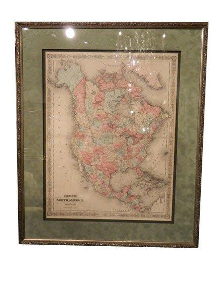 141: Johnson and Ward Atlas NORTH AMERICA Map, publishe