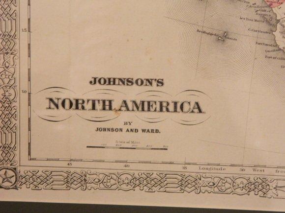 141: Johnson and Ward Atlas NORTH AMERICA Map, publishe - 2