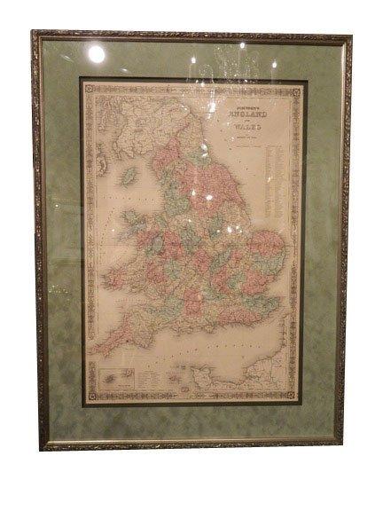142: Johnson and Ward Atlas ENGLAND AND WALES Map, circ