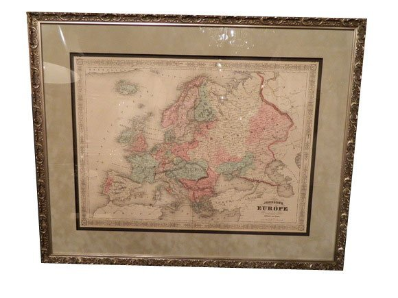 144: Johnson's EUROPE, antique map circa 1865