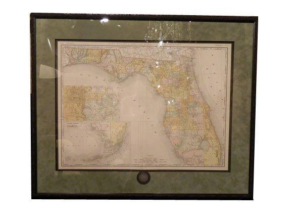 145: Rand, McNally FLORIDA Map, circa 1892