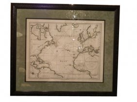 Antique Chart Of The Atlantic, Circa 1788.  This I