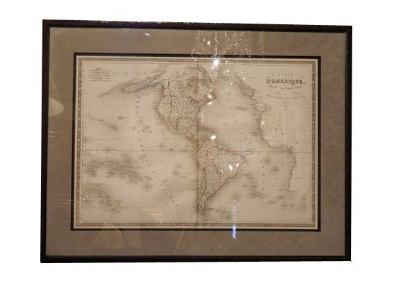 """150: 1830 Antique Map, """"Carte D'Amerique"""" by Pierre Tar"""