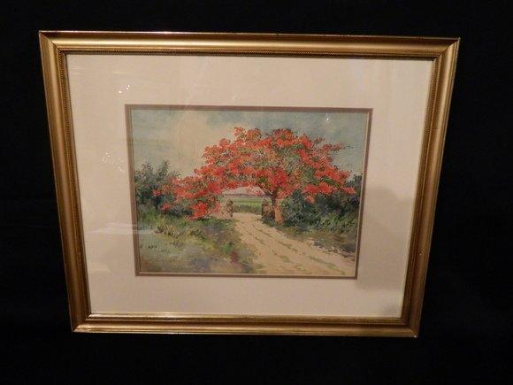 158: Watercolor Framed.  Caribbean, signed Hart L. Wood