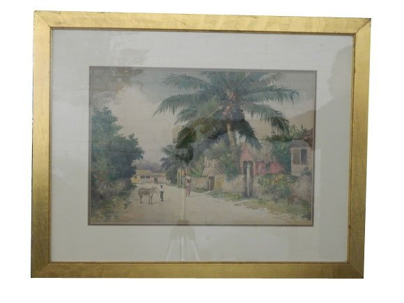 159: Watercolor Framed.  Caribbean, signed Hart L. Wood