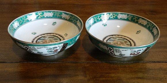 191: Pair of Gold Japanese Imari Porcelain Green and Bl