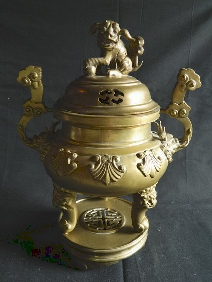 193: Chinese Heavy Cast-Brass Incense Burner, 20th cent
