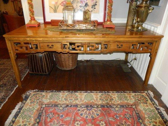 296: Impressive Circa 1847 Elaborate Chinese Elm Wood P