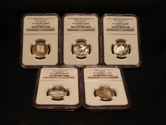 3: 2008-S 5 Piece PF70 Quarter Set (Silver)