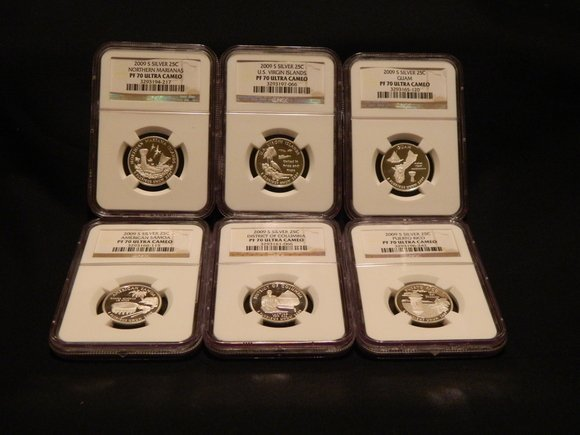 9: 2009-S 6 Piece PF70 Quarter Set (Silver)