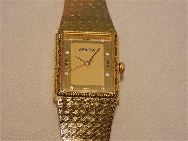 309 14k Geneva Gold And Diamond Watch