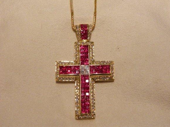 335: 18K Gold Diamond/Ruby Cross