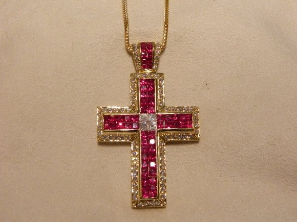 335: 18K Gold Diamond/Ruby Cross