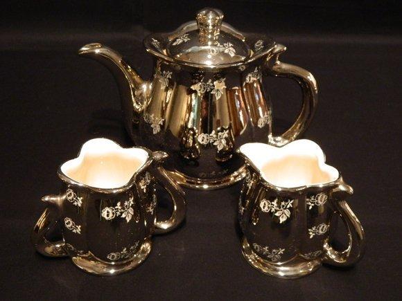 2: Three Piece Tea Set Hand Decorated Platinum Rose