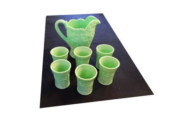 10: Set of green milk glass - tumblers and pitcher