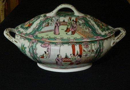 13: Old Two Handled Covered Rose Mandarin Bowl