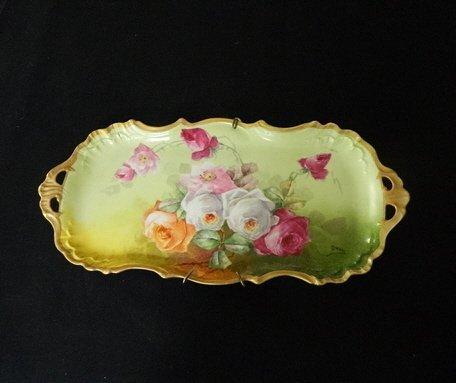 15: Hand-Painted Rose Motif Limoge Pin Tray