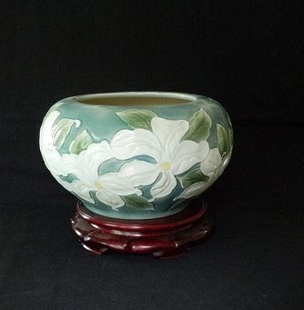 17: Mammoth Chinese Pottery Vase and Stand in Original