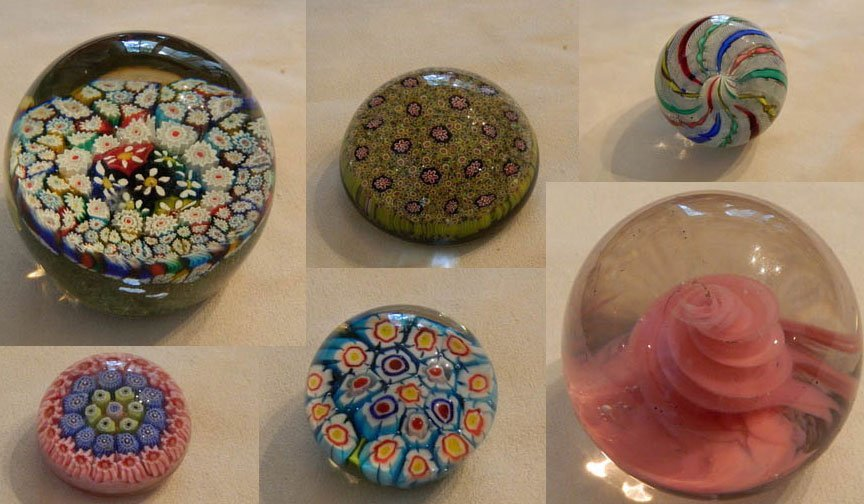 18: Collection of Six Crystal Paperweights
