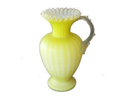 23: 19th Century Art Glass Blown Yellow Satin Vase