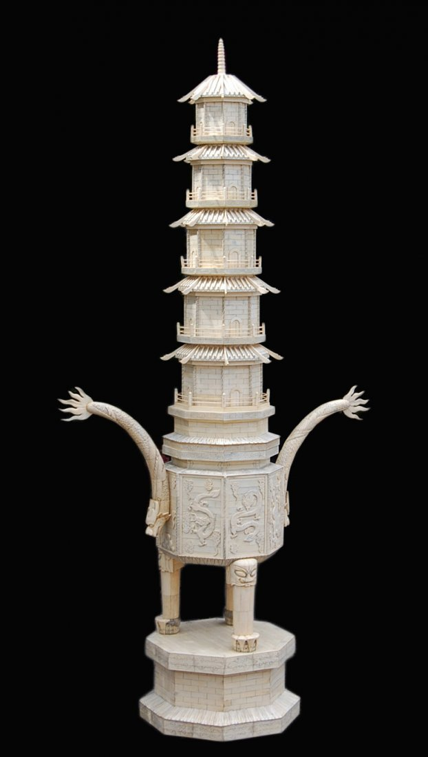 233: 19th Century Intricately Carved Ivory Dragon Pagod