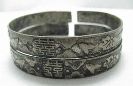 3: A Pair of Old Silver Marriage Bangles or Bracelets,