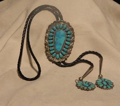 102: 1960-1970s Sterling Silver and Turquoise Navajo Bo