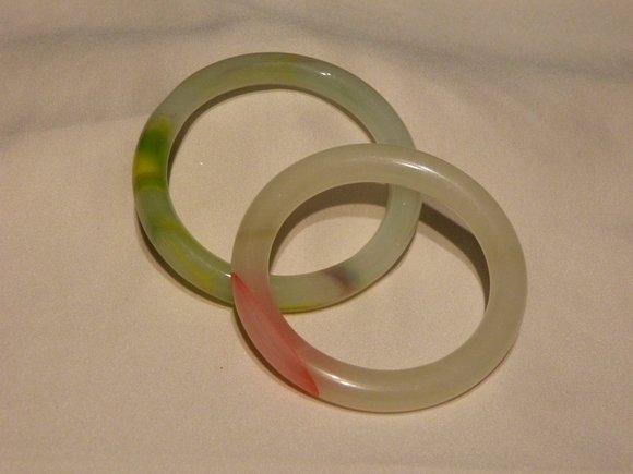 4B: Pair of Chinese Mixed Color Jade Bangles