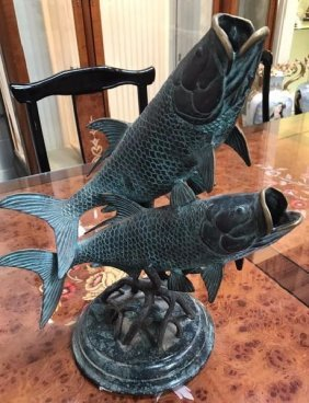 Bronze Sculpture of Two Fish with Patina