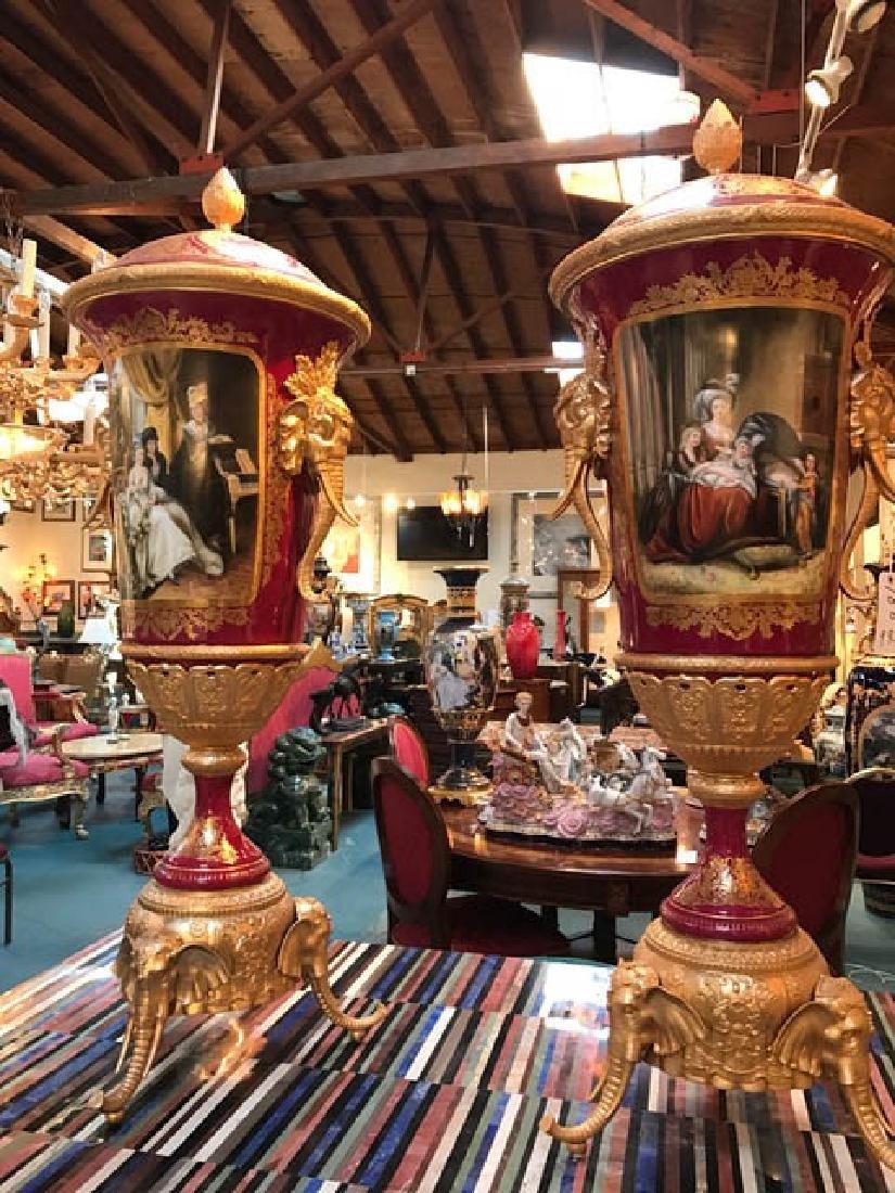 Beautiful Pair of Porcelain 24k Gold Gilded Vases