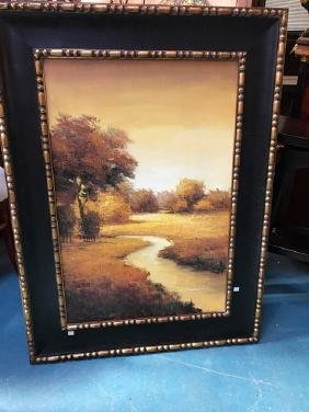 Oil on Canvas Painting of Creek in Autumn