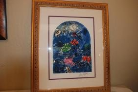 """Stain Glass Windows"" by Marc Chagall Print, Signed"