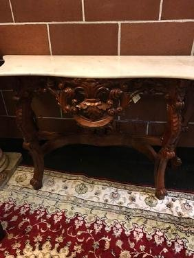 Very Detailed Carved Wood and Marble Console Table