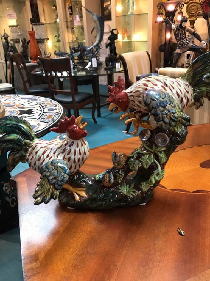 Beautiful Porcelain Statue of Two Fighting Roosters
