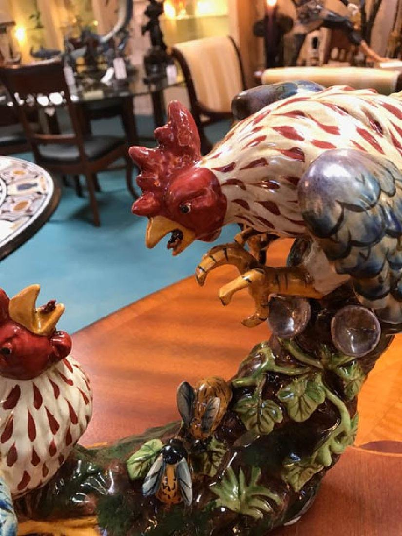 Beautiful Porcelain Statue of Two Fighting Roosters - 2