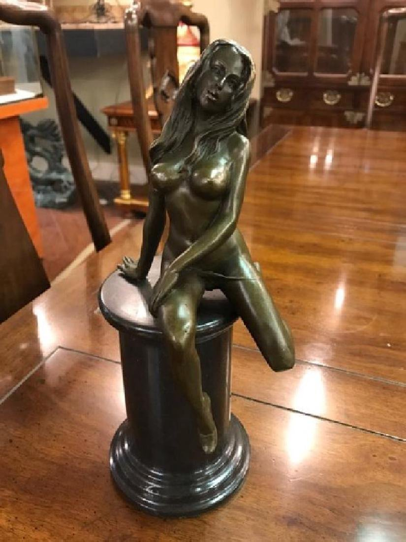 Abstract Bronze Statue of Woman Sitting on Pedestal