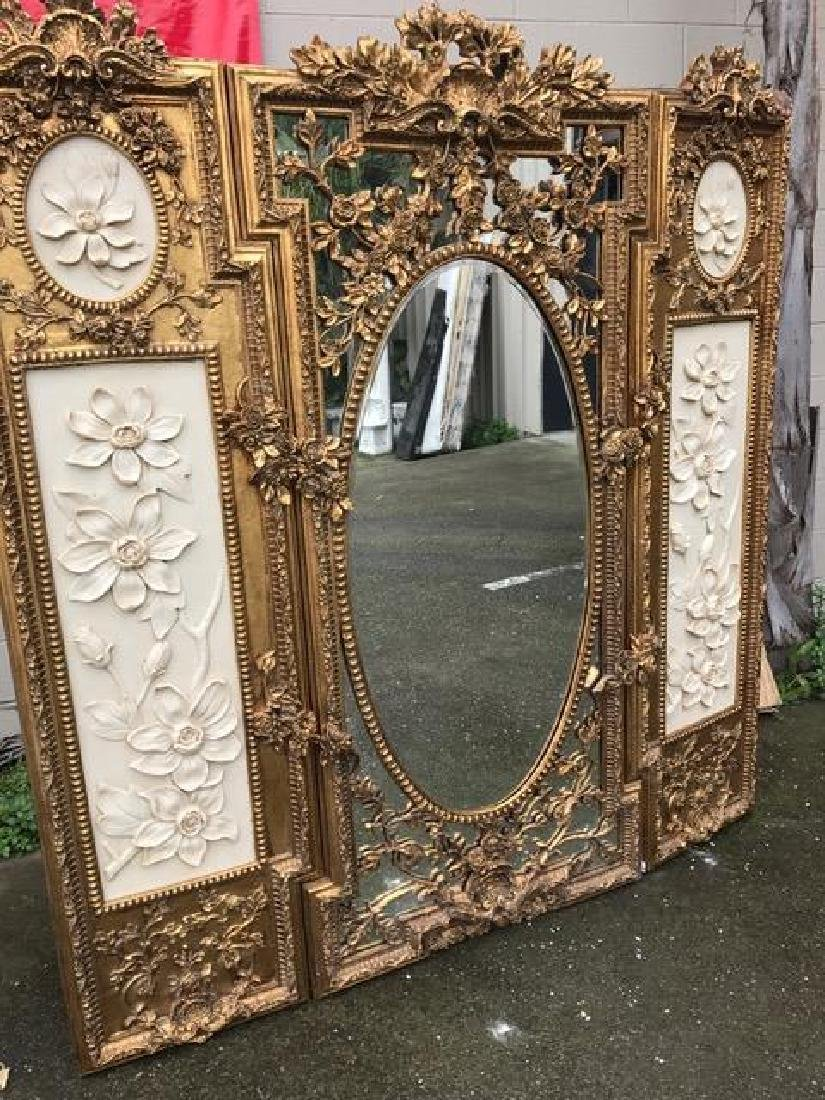 Gilded Wood and Mirrored 3 Panel Screen