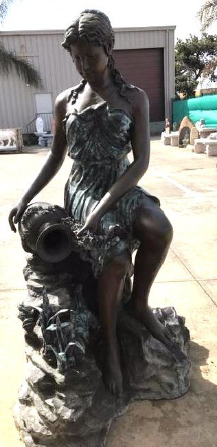 Large Bronze Fountain of Woman w/ Water Vessel