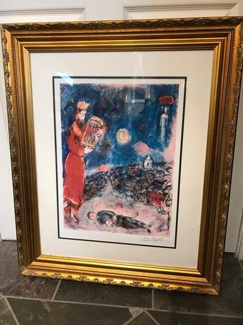 """King David with the Artist"" Print by Marc Chagall"