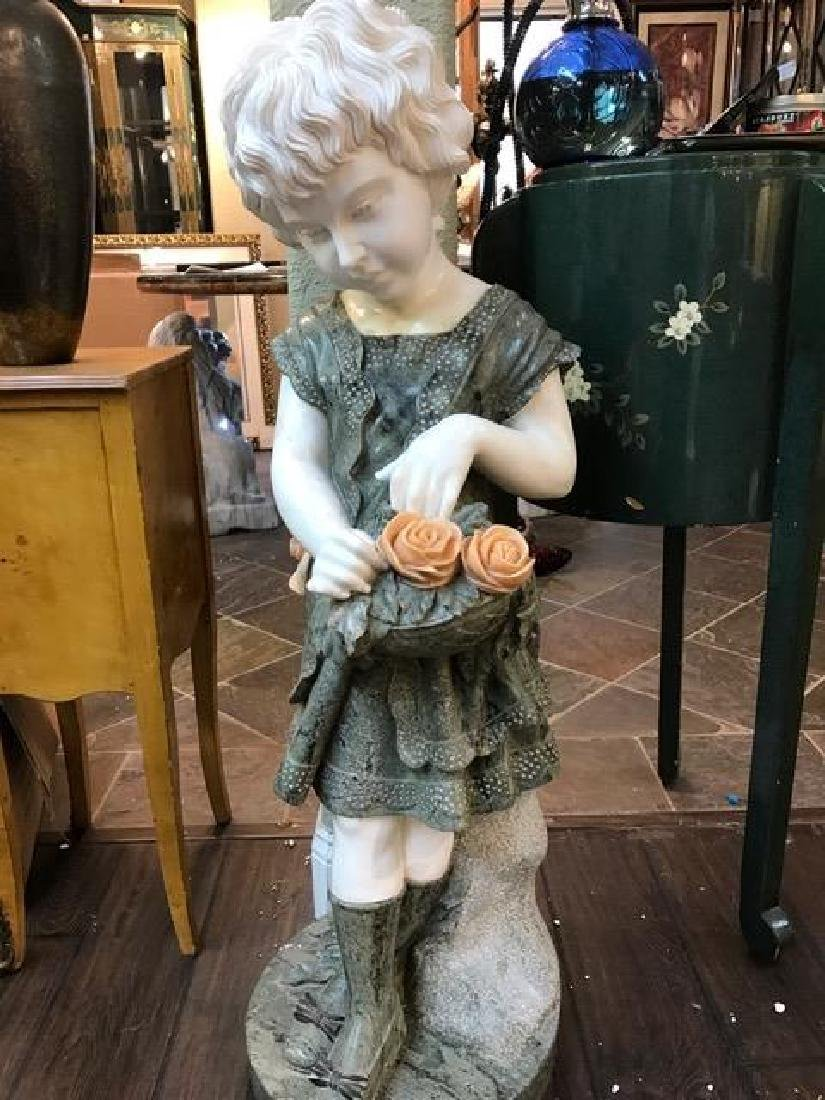 Multi-Colored Marble Statue of Girl w/ Flowers