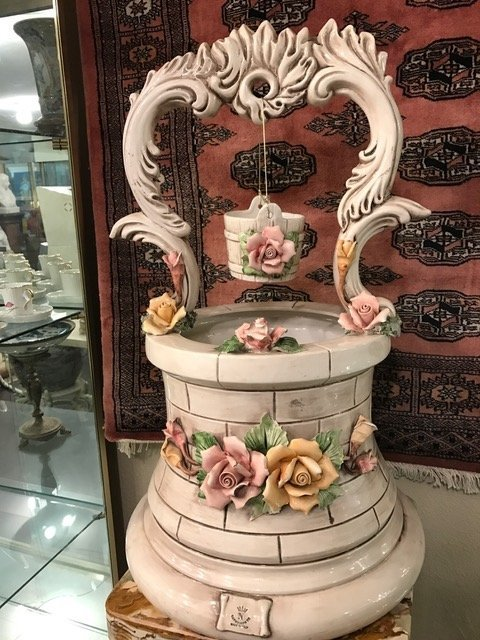 Capodimonte Porcelain Wishing Well Sculpture