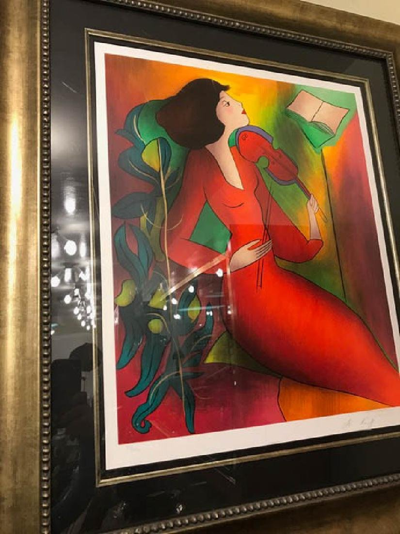 Woman in Red Playing Violin Print by Linda Le Kinff